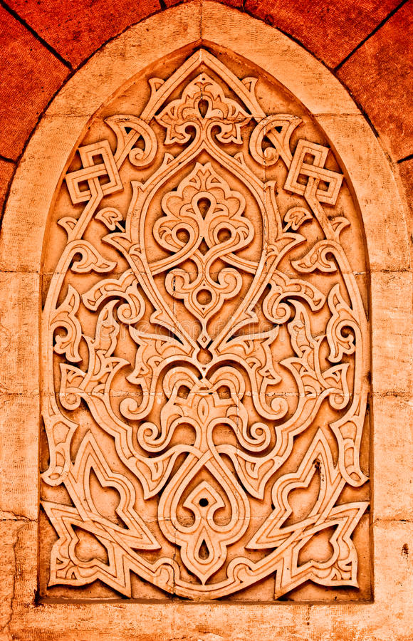 Coloured arabian ornamental carvings stock photos