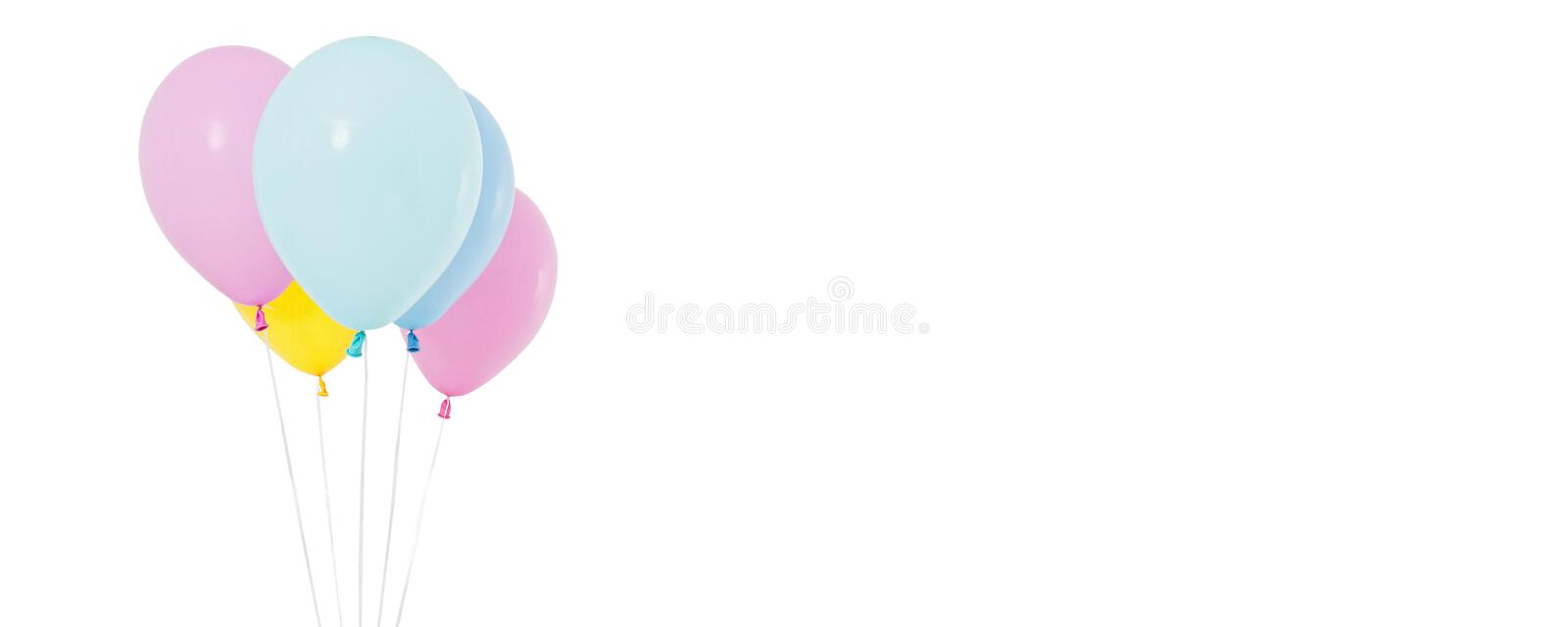 Coloured balloon isolated on white background, collage holiday, birthday balloons royalty free stock images