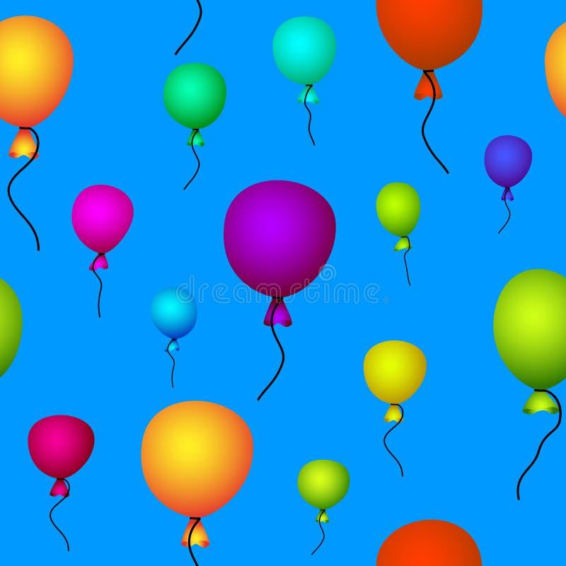 Coloured balloons flying in sky seamless stock illustration