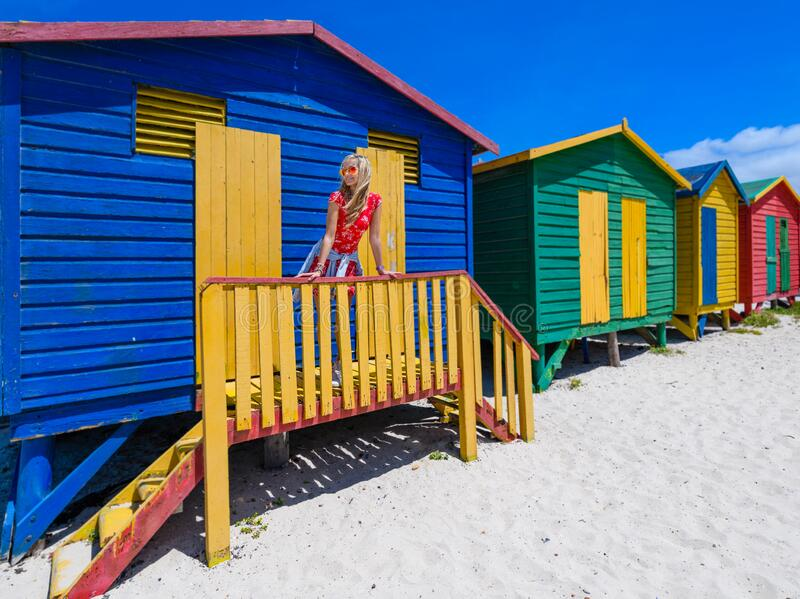Coloured beach huts,on muizenburg beach,capetown,south africa 2 royalty free stock photo