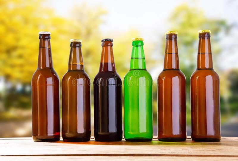 Coloured beer bottles on table on blurred forrest background, holiday concept.  royalty free stock images