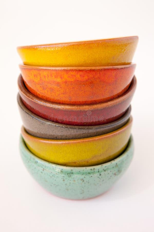 Coloured Ceramic Dishes stock photos
