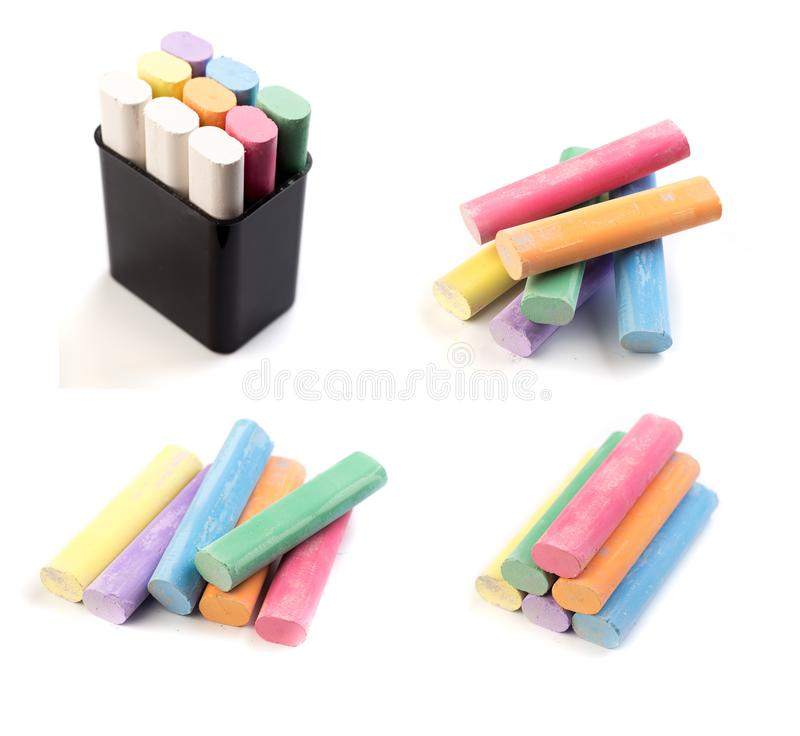Coloured chalk for drawing on a white background - Image stock photo