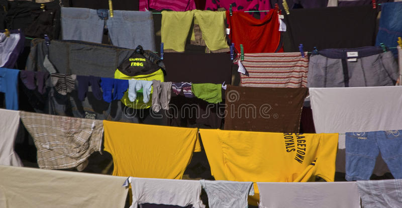 Coloured clothes. Hanging clothes in bamberg, germany royalty free stock photography