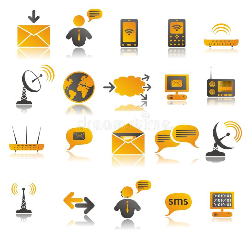 Coloured communication web icons set stock illustration