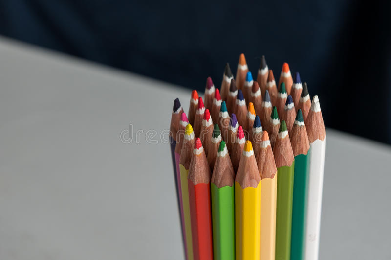 coloured crayons arkivfoton
