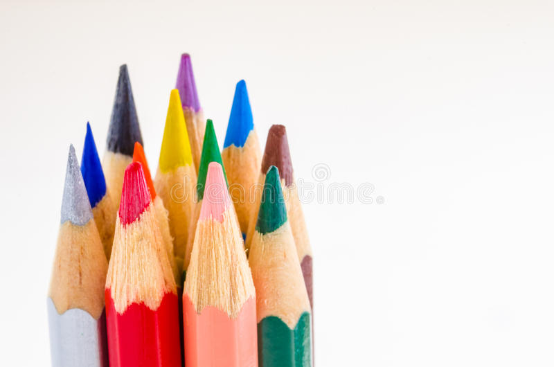 Coloured Crayons. Group of coloured crayons on a White Background royalty free stock image