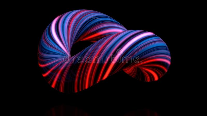 Coloured curved figure torus. Three-dimensional animation of bundle of twisted in circle of luminous threads. Abstract vector illustration