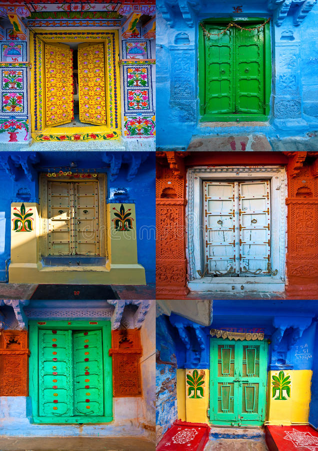 Coloured doors in jodphur,rajasthan,india. A collage of coloured,doors in jodphur,rajasthan,india royalty free stock photos