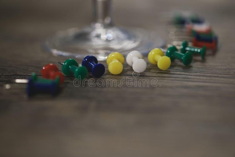 Coloured drawing pins royalty free stock photos