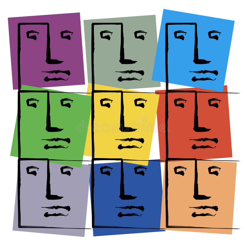 Coloured Faces stock illustration