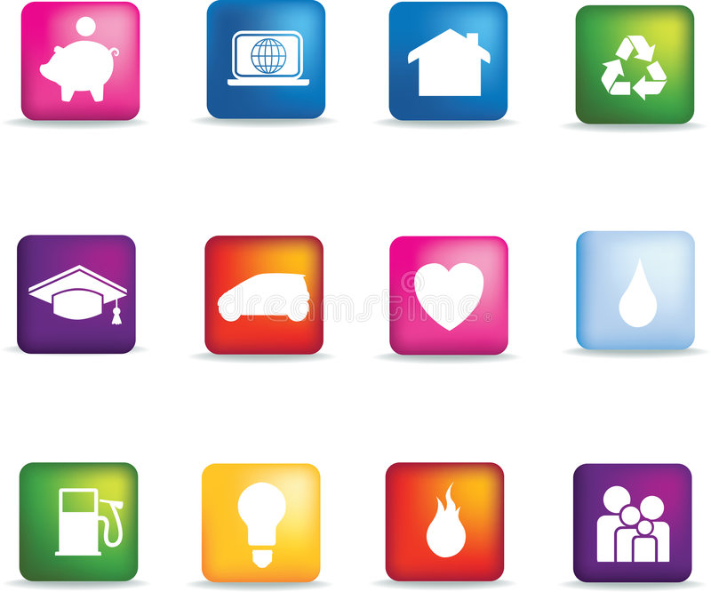 Download Coloured Home Icon Button Set Stock Vector - Image: 8636650