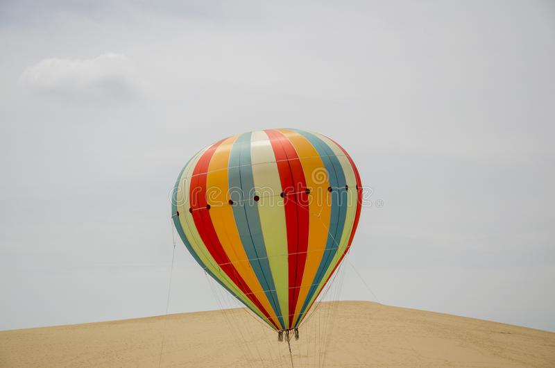 Coloured hot air balloons stock images