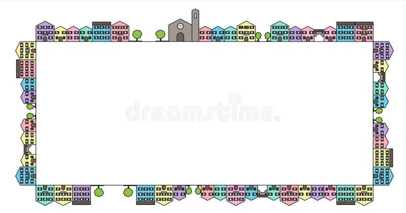 Coloured houses frame stock photos