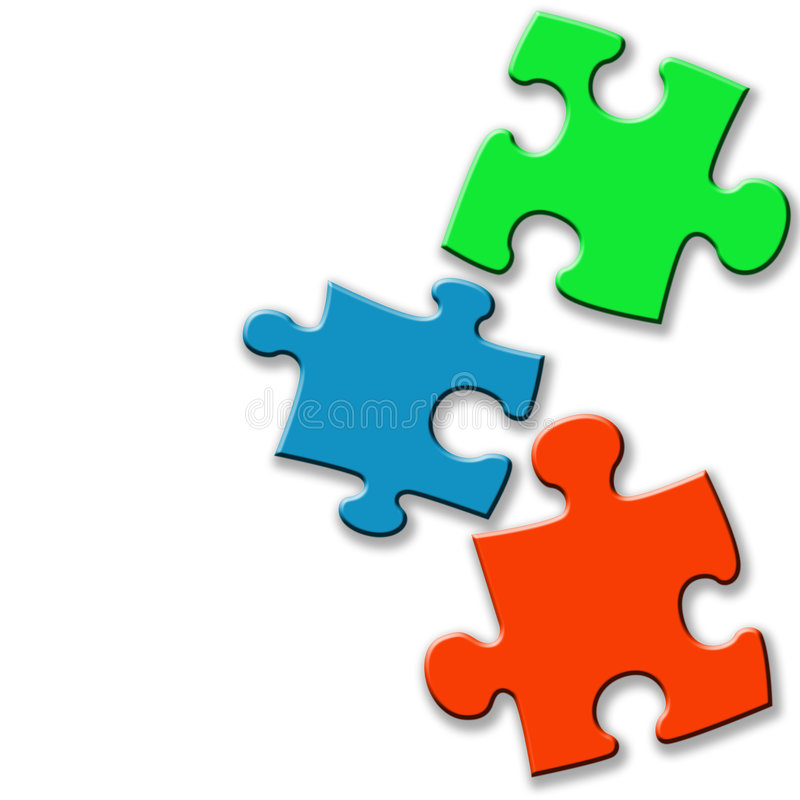 Coloured jigsaw pieces stock illustration