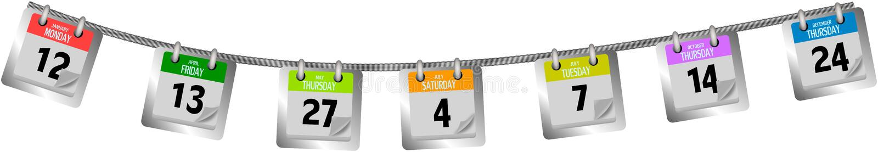 Download Coloured Kalendarz Wzywa Obwieszenie Na Arkanie Ilustracji - Ilustracja złożonej z tydzień, przypomnienie: 53781041