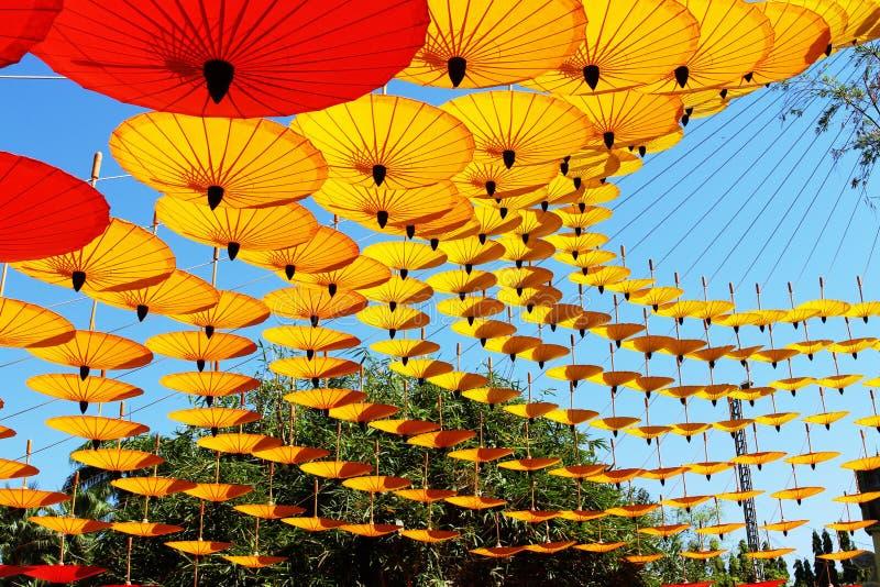 Coloured Lanna umbrellas stock photography