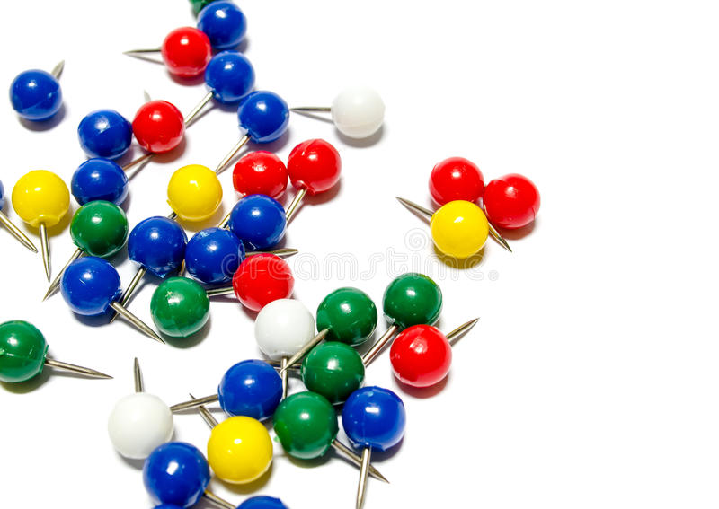 Coloured mapping pins royalty free stock photography