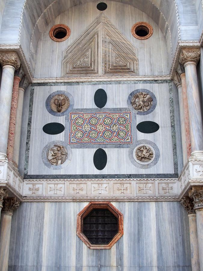 Coloured Marble Detail of St Mark`s Basilica, Venice, Italy royalty free stock image