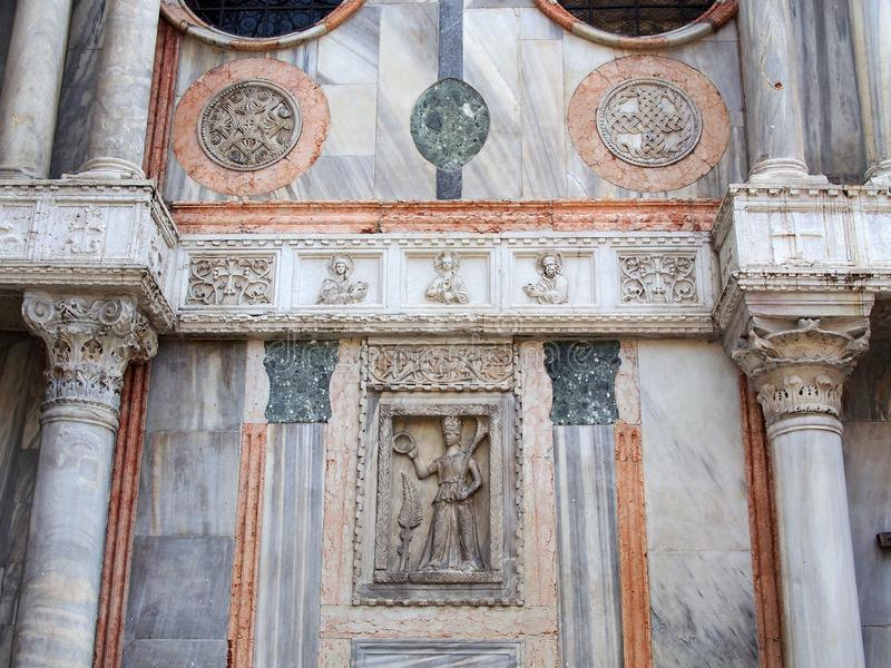 Coloured Marble Detail of St Mark`s Basilica, Venice, Italy stock photography
