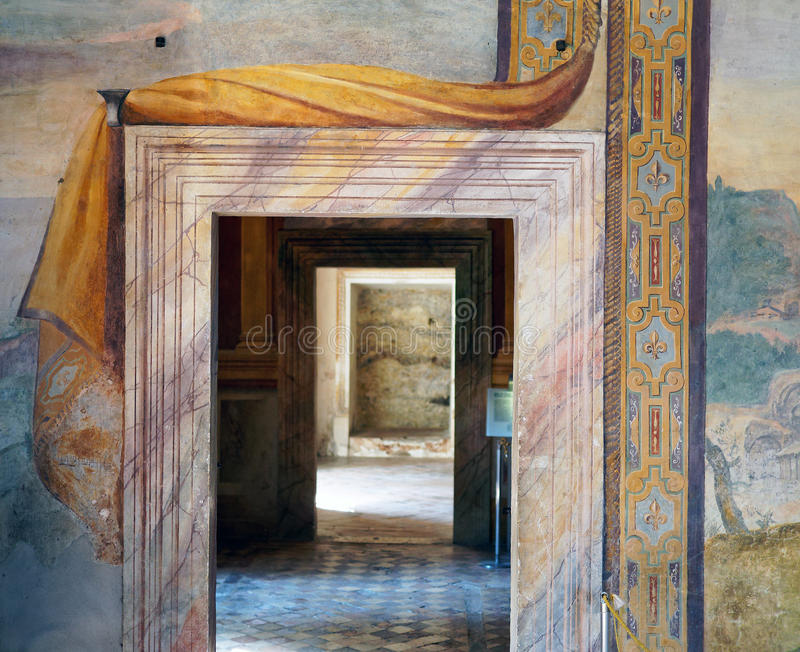 Coloured Marble Door Frame, Villa d Este, Italy stock images