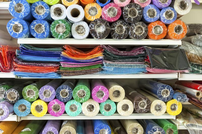 Haberdashery Coloured Material. Extreme Close-Up royalty free stock photography