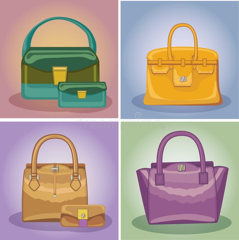 Coloured mod kobiet torebki ustawiać royalty ilustracja