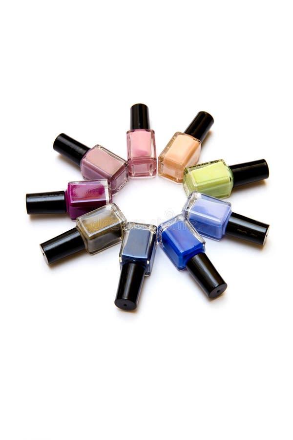 Coloured Nail Polish Bottles Stacked Circle Stock Photo - Image of ...
