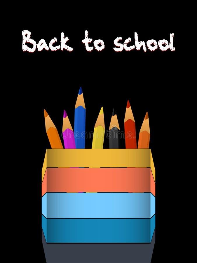 Coloured ołówki i ołówkowy właściciel z z powrotem szkoła tekst ilustracji