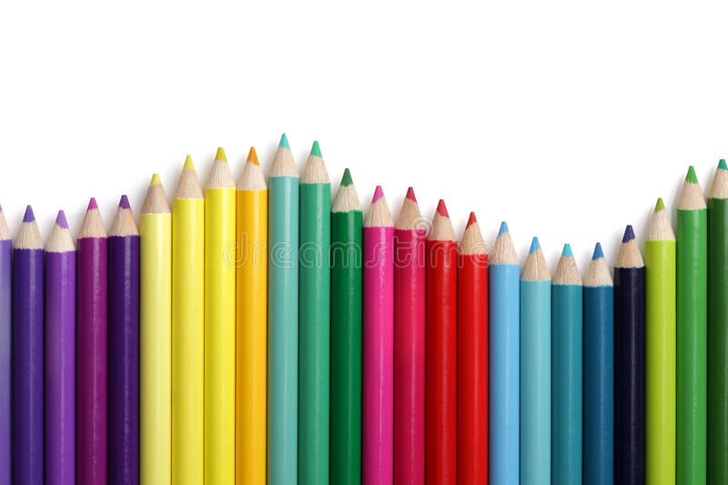 Coloured pencil bar graph royalty free stock photos