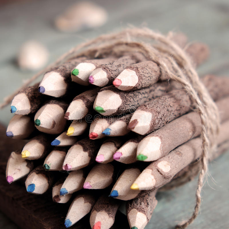 Coloured pencil, colouful crayon royalty free stock photos