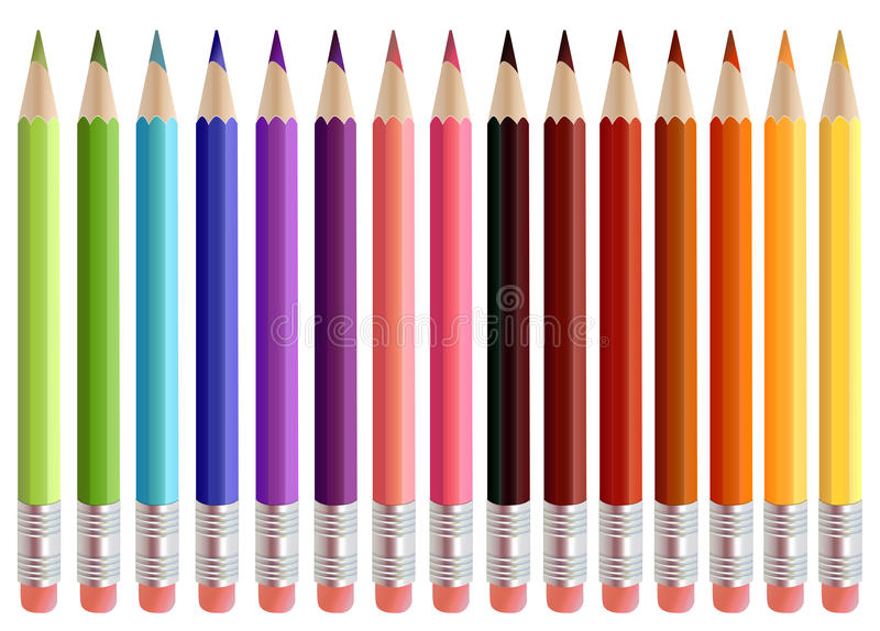 Coloured Pencils. Picture of different coloured pencils vector illustration