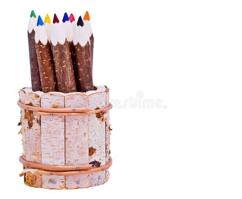 Coloured pencils stock photos