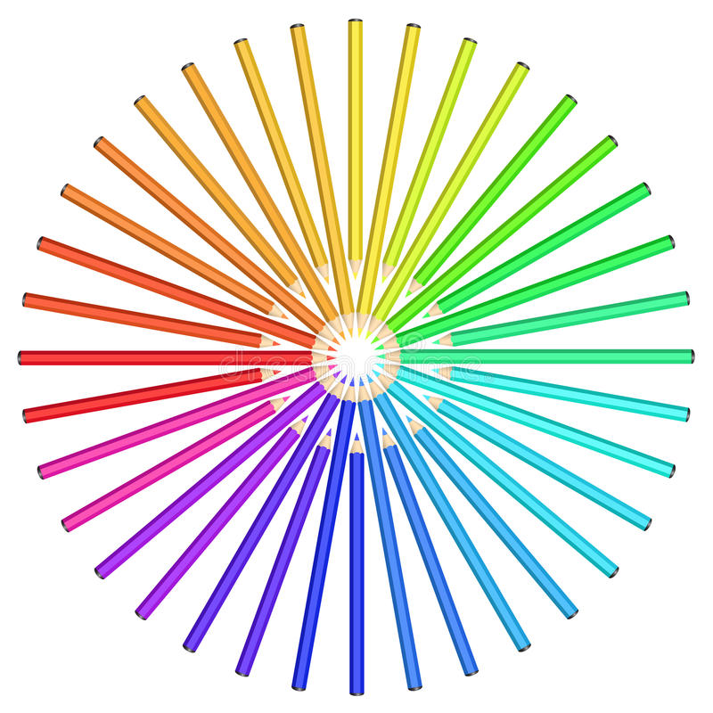 Download Coloured Pencils Arranged In A Circle. Stock Illustration - Image: 19398625