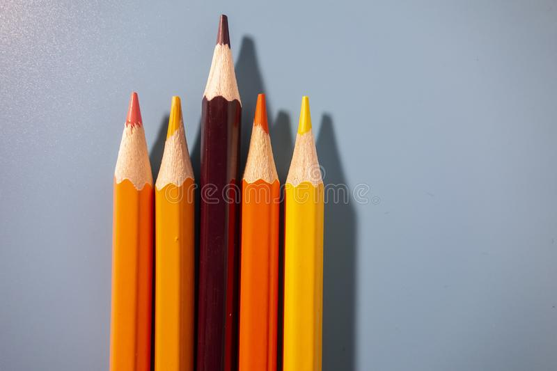 Coloured pencils arranged neatly. In a blue background stock photos