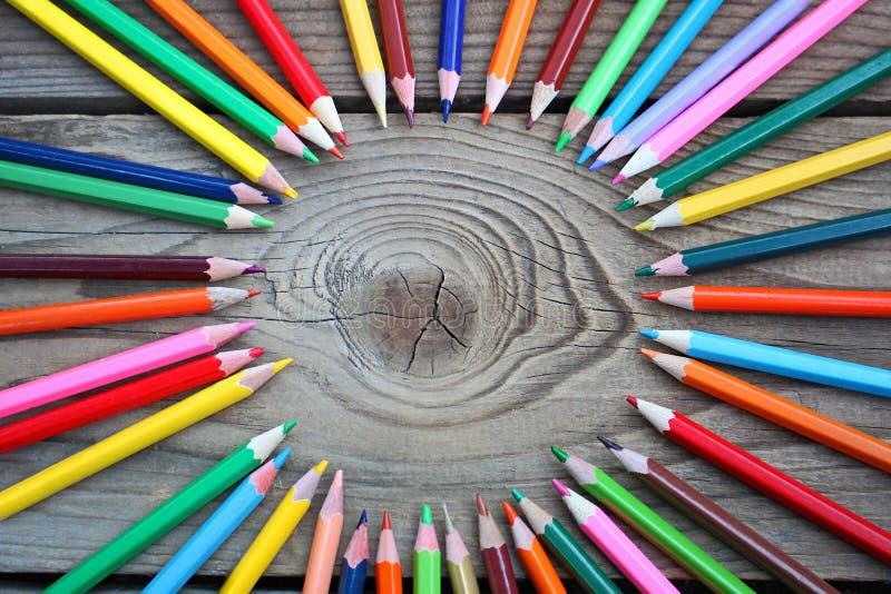 Coloured pencils circle royalty free stock image