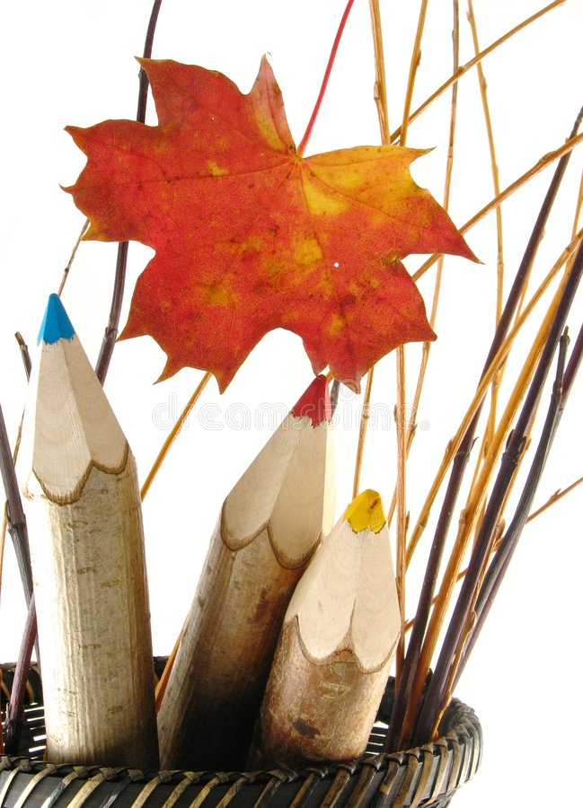 Free Coloured Pencils In Basket Stock Photos - 3265593