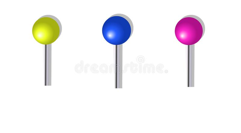 Coloured push pins in different positions isolated on white background. Illustration design. Modern, grern, blue, pink, symbol, simple, creative, graphic, idea royalty free stock images
