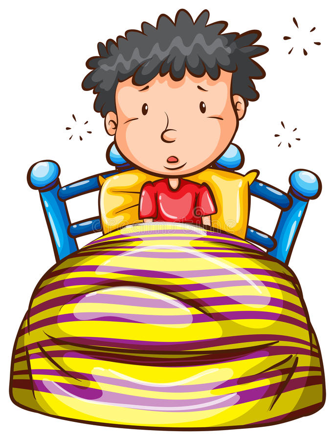 A coloured sketch of a boy waking up early vector illustration