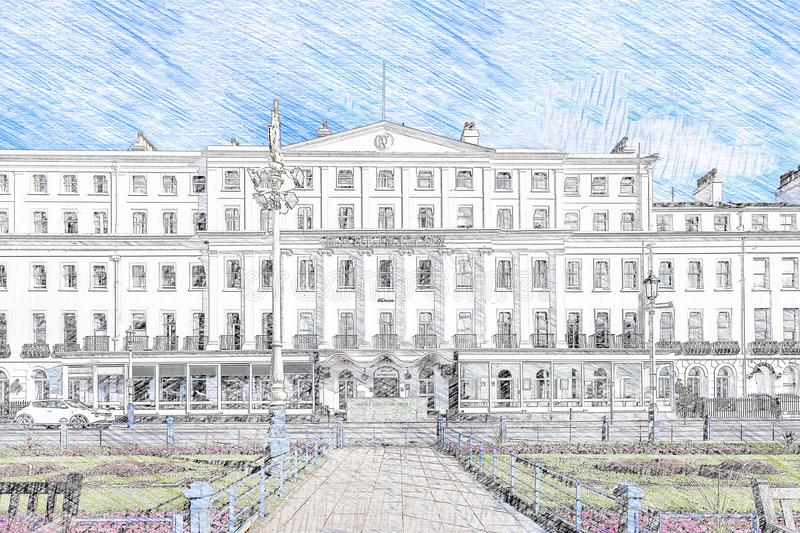 Sketch of very large building stock illustration