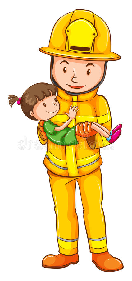 A coloured sketch of a fireman saving a child stock illustration