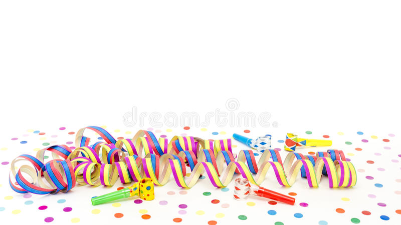 Coloured streamers. Before white background stock photo
