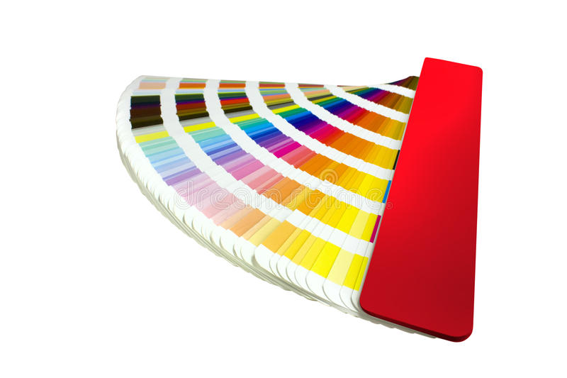 Coloured swatches book. Open showing an array of rainbow colours stock image
