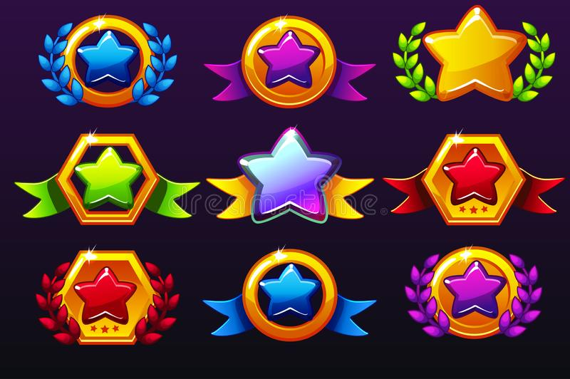 Coloured templates star icons for awards, creating icons for mobile games. Vector concept gambling assets, set Mobile App Icons. Different forms and Laurel vector illustration