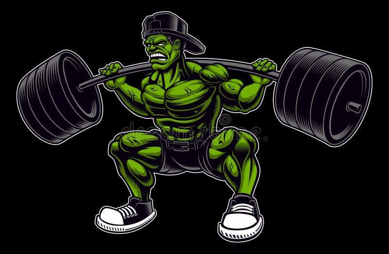 Coloured wektorowa ilustracja bodybuilder z barbell ilustracja wektor