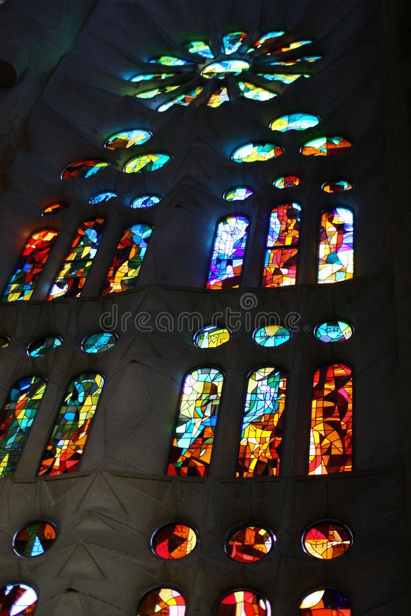 Coloured window inside Sagrada Familia royalty free stock photo