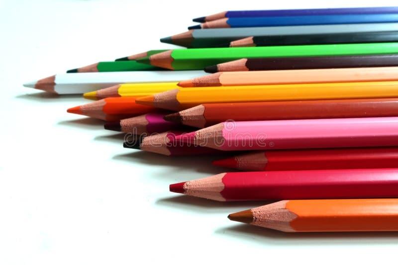 Coloured wood pencils rainbow isolated stock photography