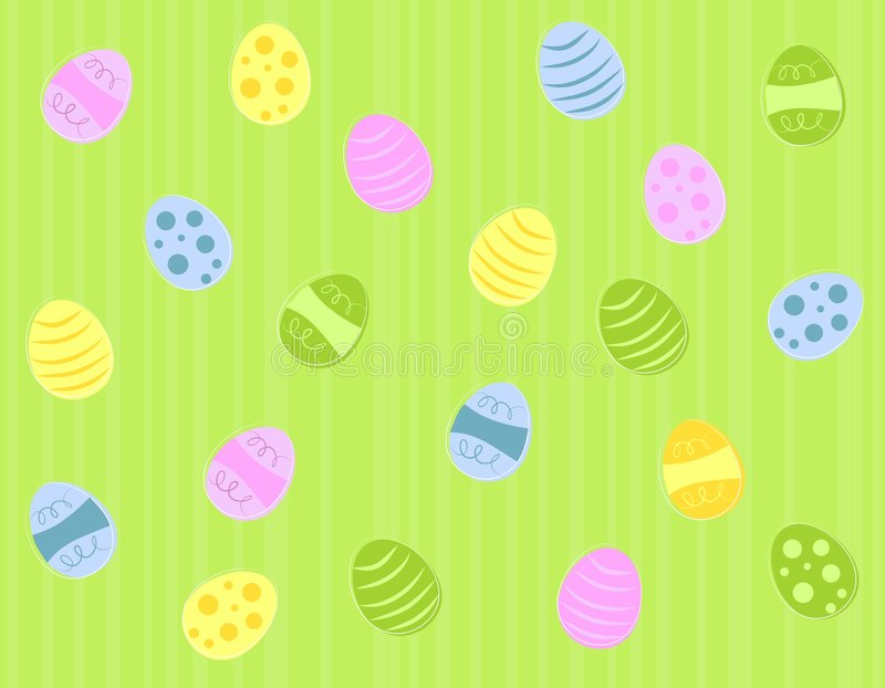 Colourfiul Green Easter Eggs. A background pattern featuring colourful Easter eggs randomly placed on green striped background stock illustration