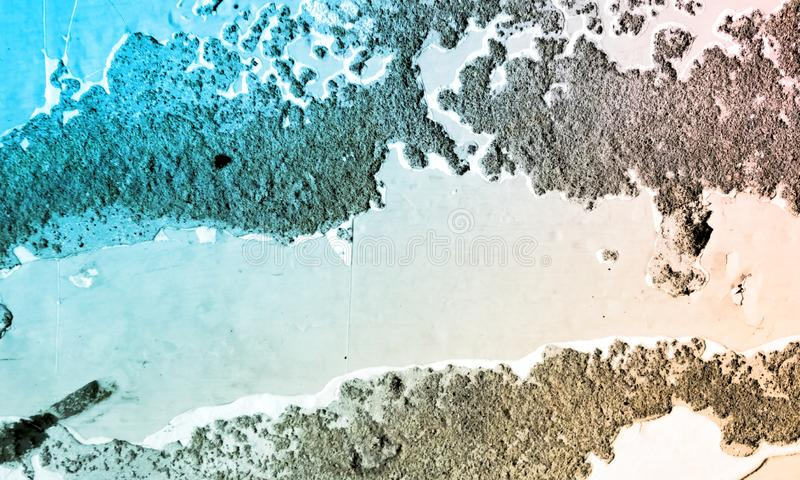 Colourful Abstract painted wall and floor surface. An abstract study of an artistically painted wall surface, in colours of blue turquoise, white, red, orange royalty free stock photography