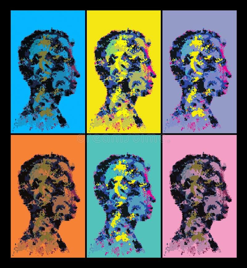 Colourful abstrakcjonistyczne ludzkiej głowy sylwetki ilustracja wektor